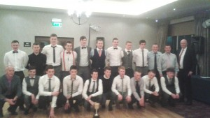 The under 21 district champions and County finalists at the celebratory dinner dance held recently
